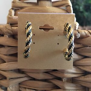 Vintage Avon gold & black twisted chain hoops